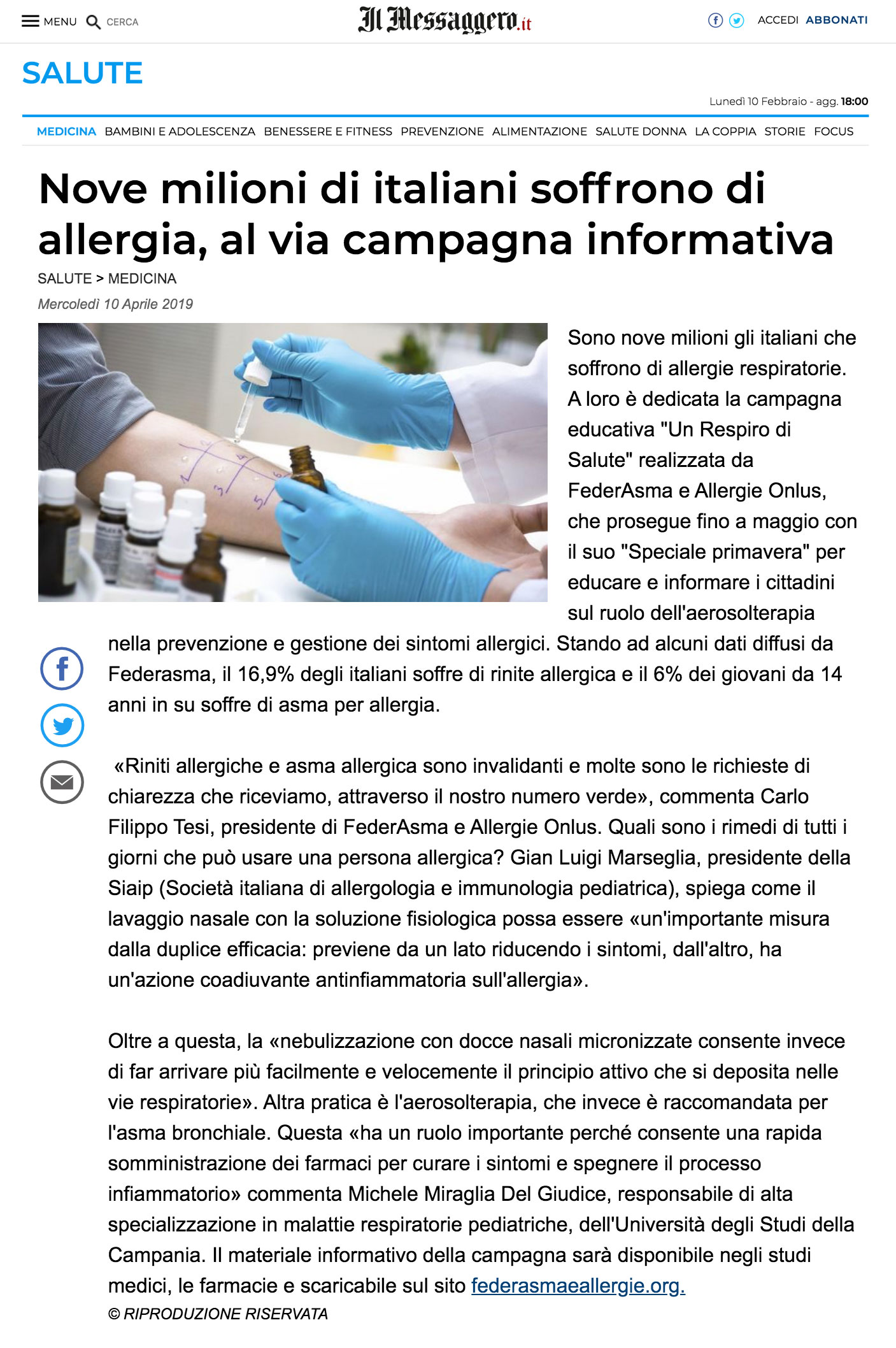 notizie messaggero allergia