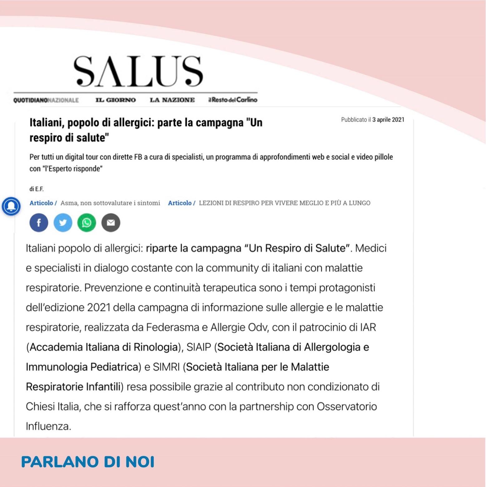 SALUS QuotidianoNazionale IL GIORNO LA NAZIONE Il Resto del Carlino
